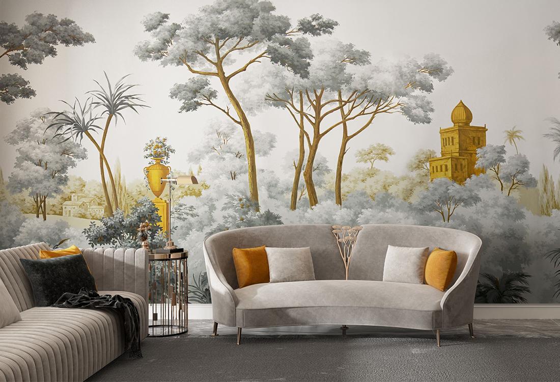 异域城堡耸立在葱郁的森林壁画