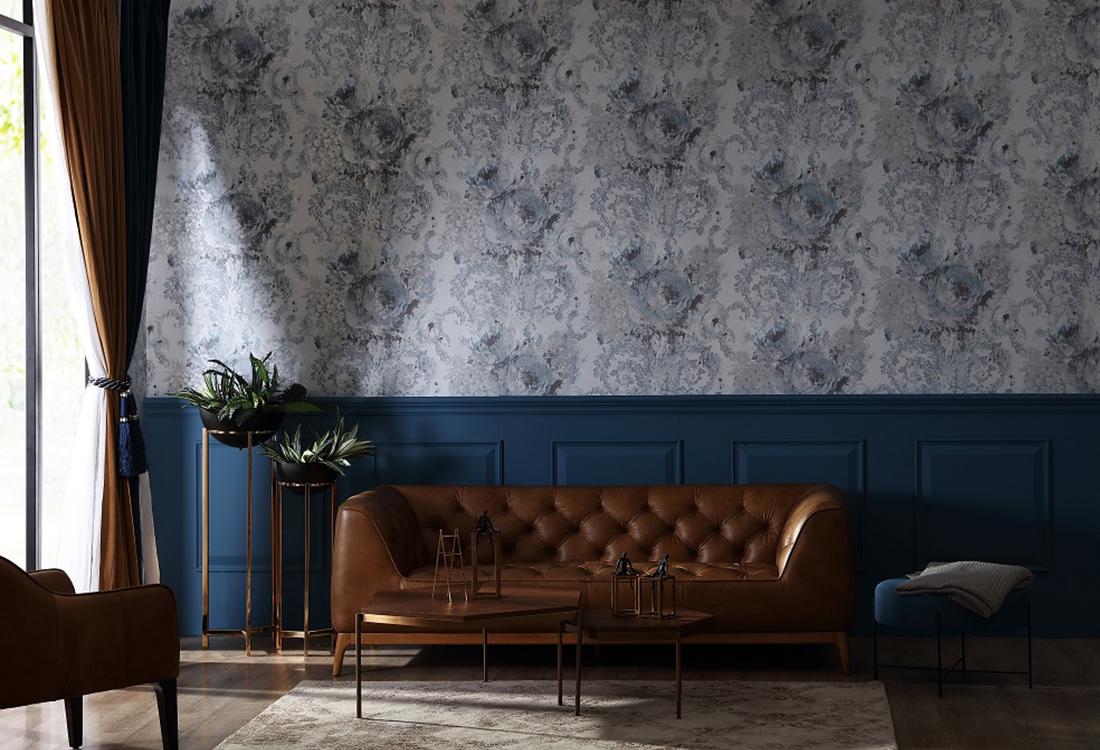茛苕叶纹欧美式无缝墙布