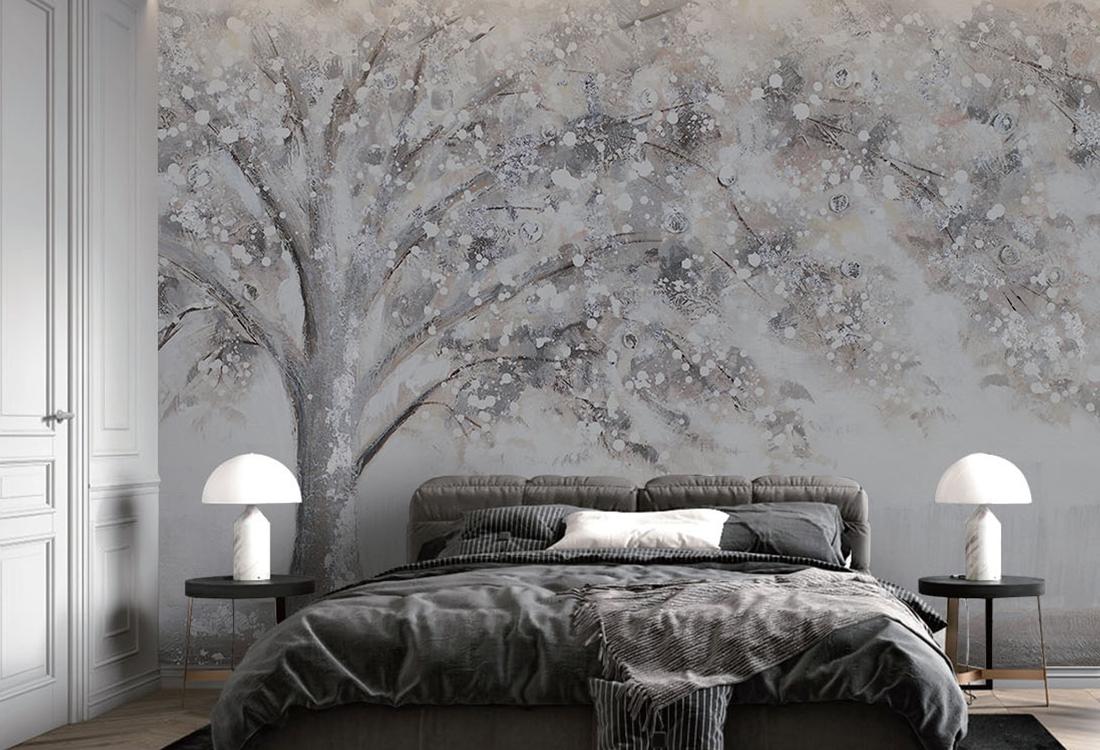 雪花满树白色花开抽象壁画