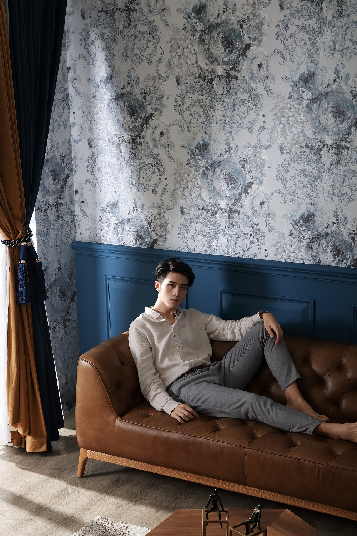 欧式室内装修墙布与模特