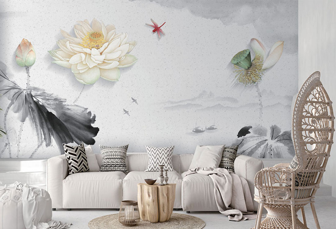 莲花荷花蜻蜓水墨壁画