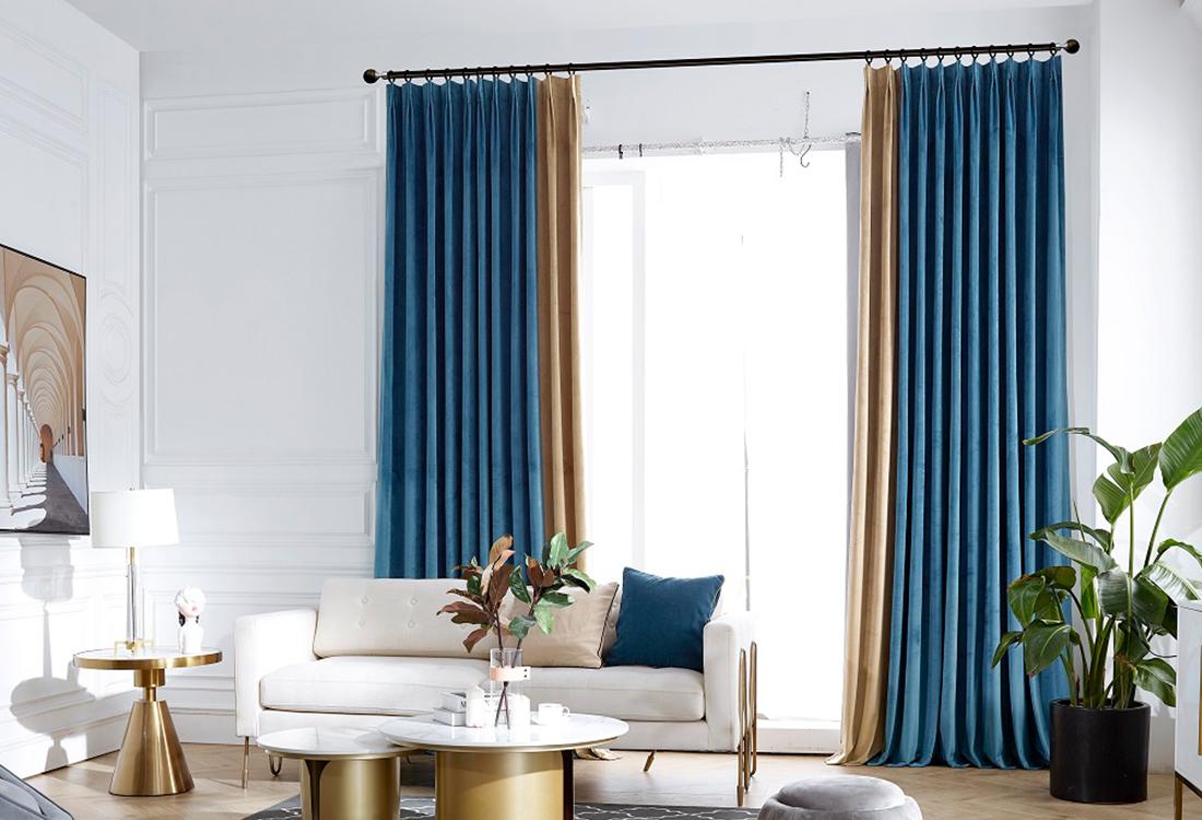湛蓝咖色撞色丝绒布艺窗帘