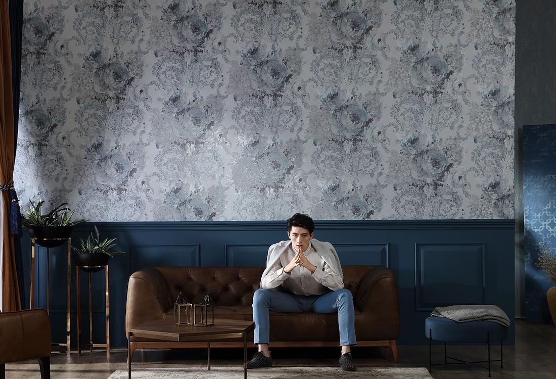 油画艺术结合古典纹无缝墙布