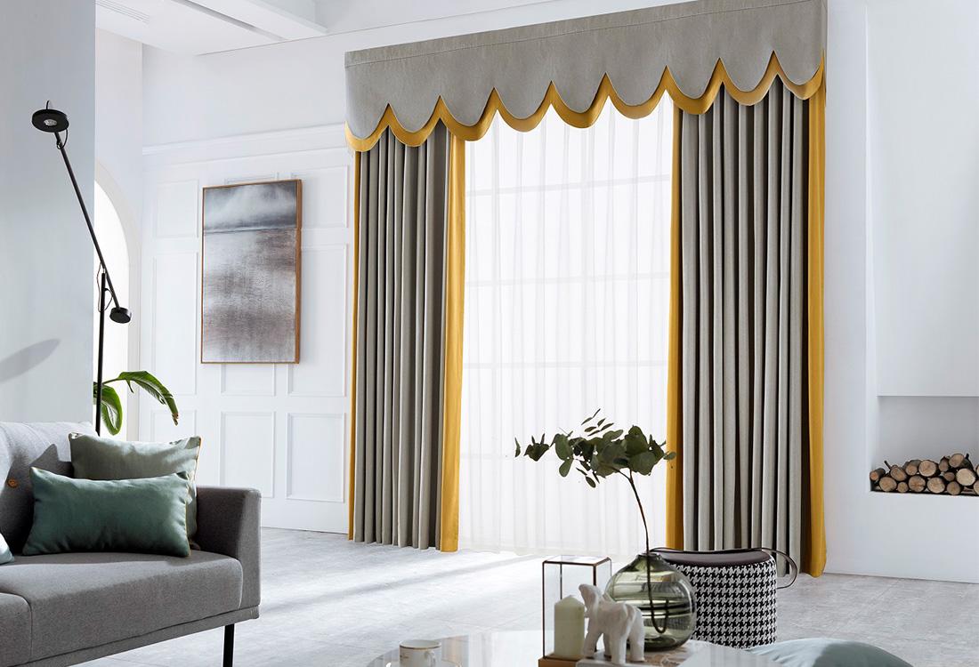 金灰撞色斜纹棉窗帘