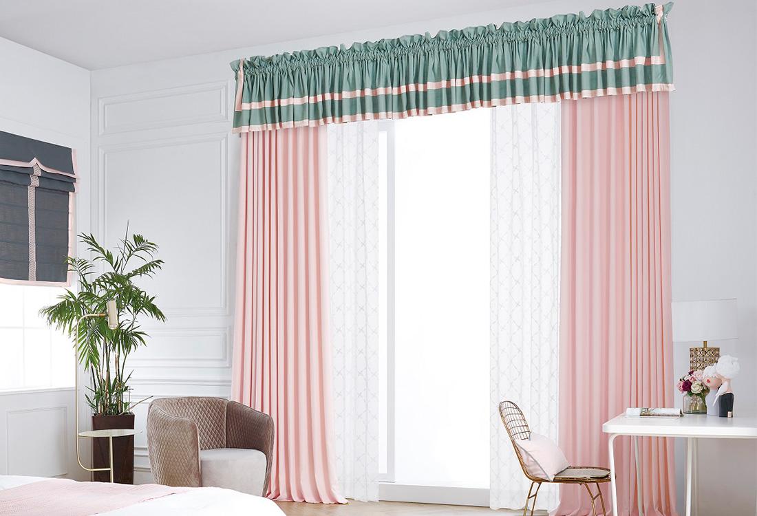 玫瑰水粉色港湾灰绿儿童棉麻窗帘