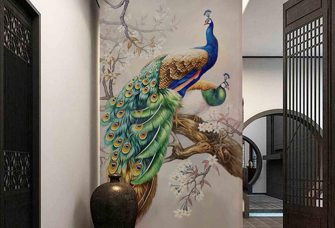孔雀开屏富贵感玄关壁画