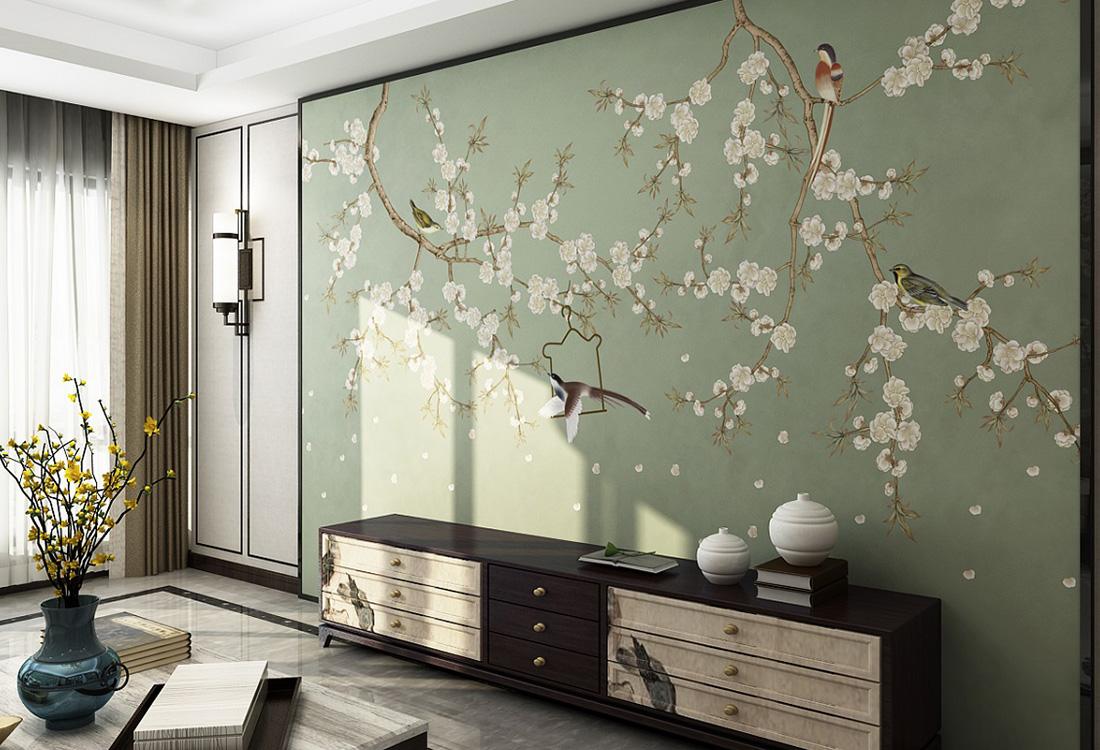 百鸟报春桃花盛开中式壁画