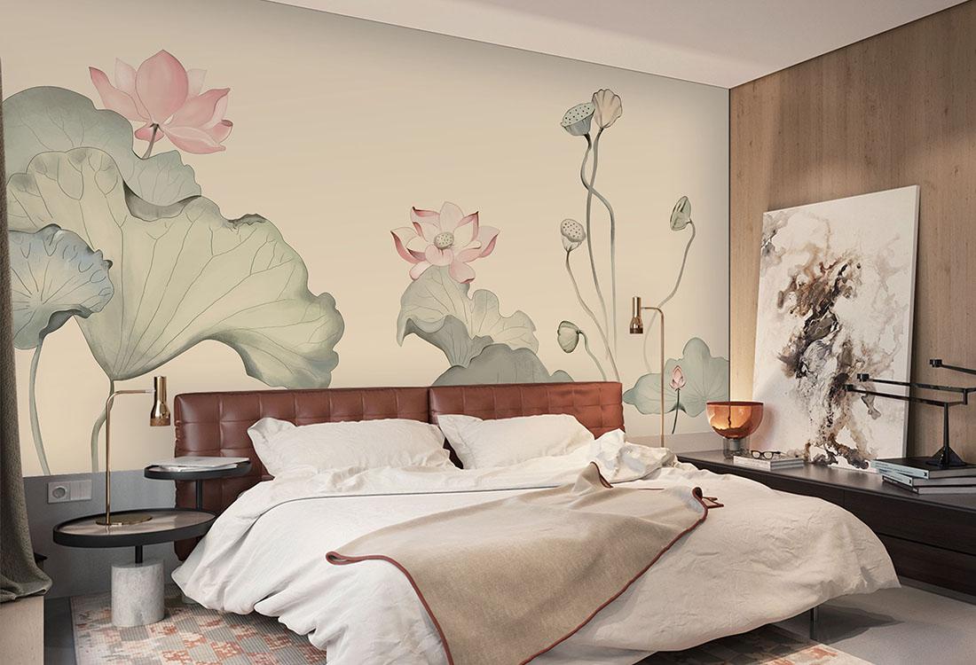 粉色莲花荷叶中式背景墙