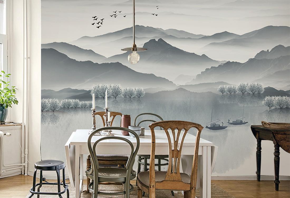 山水泛舟飞鸟水墨壁画