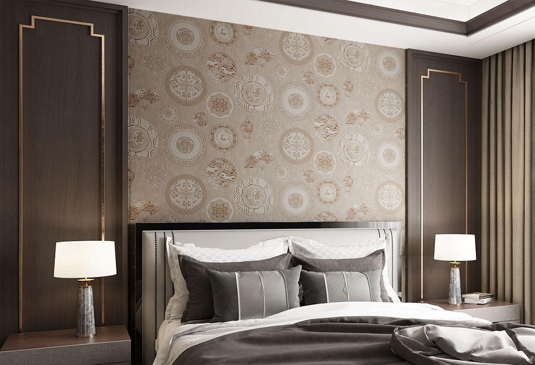 青花瓷元素新中式墙布