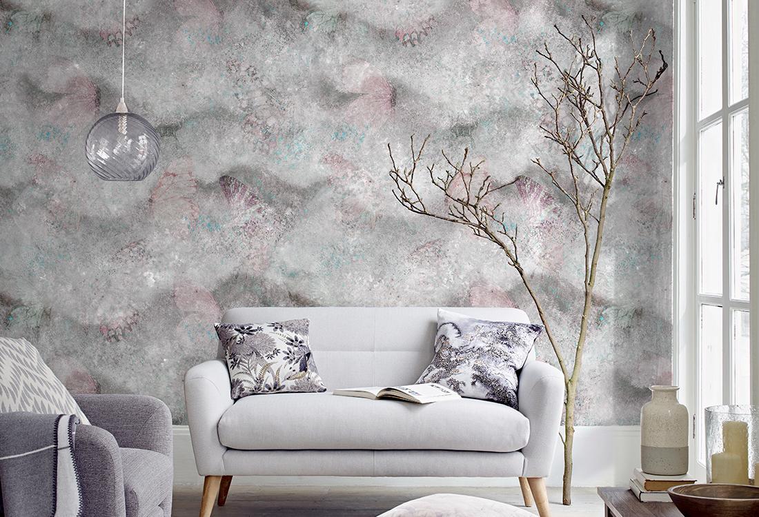 蝴蝶云雾抽象艺术壁画
