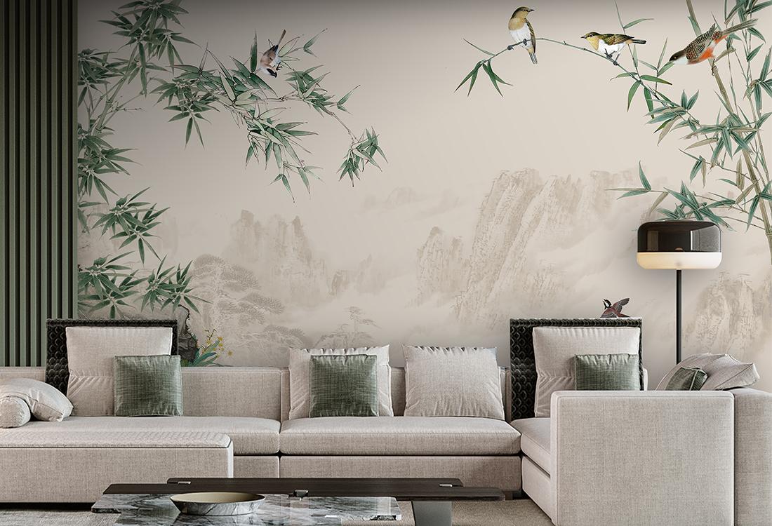 山水竹林飞鸟中式壁画