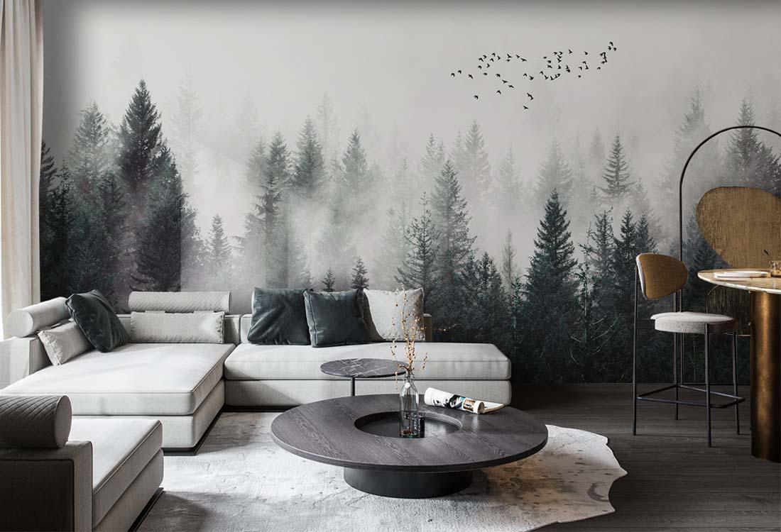 丛林云雾飞鸟远眺背景墙