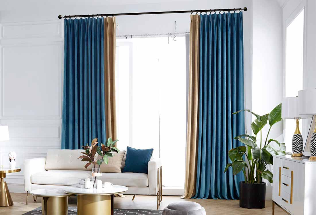 蓝咖两色丝绒现代窗帘