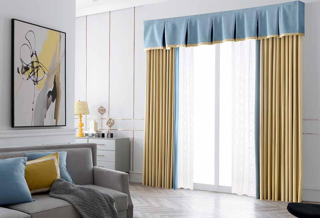 黄蓝撞色遮光窗帘