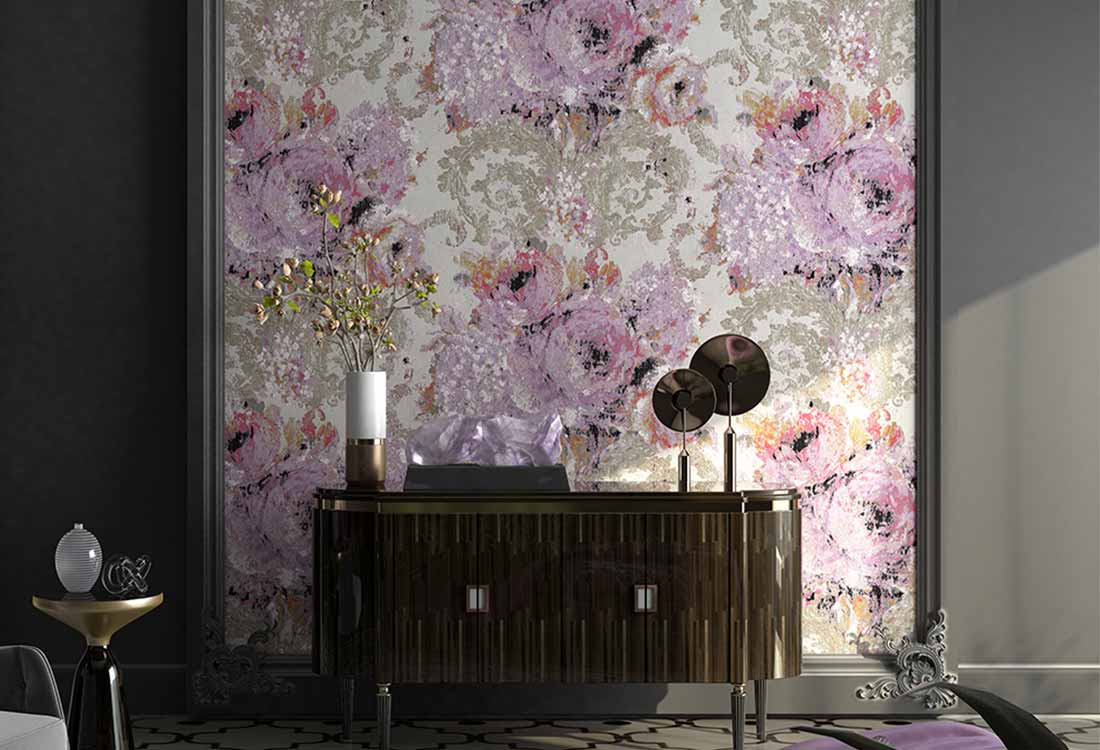 油画艺术古典纹样提花墙布