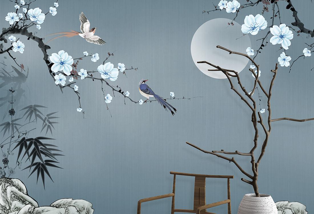 花好月圆花鸟壁画