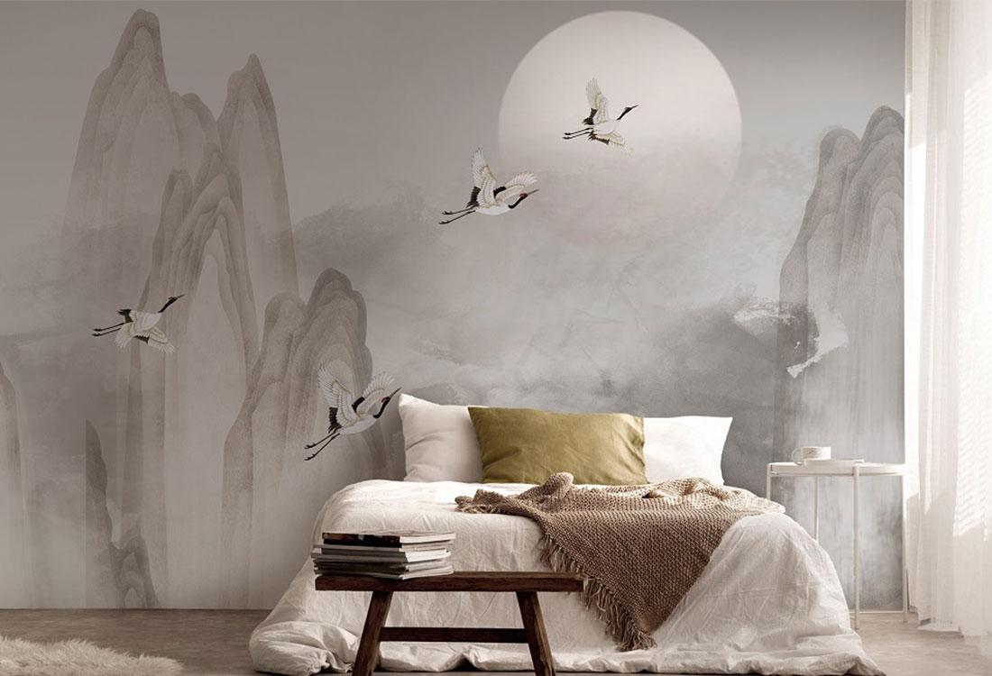 山水瑞鹤中式水墨壁画