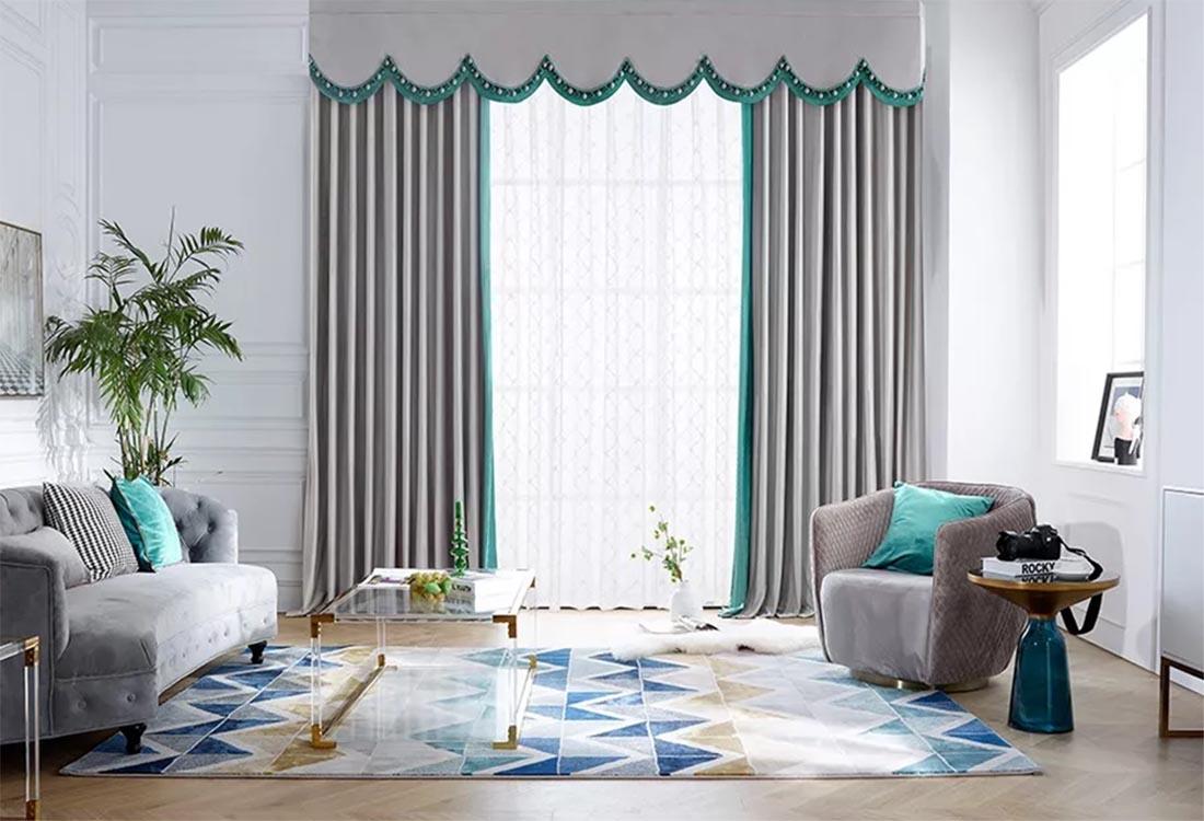 灰色湛青成品窗帘