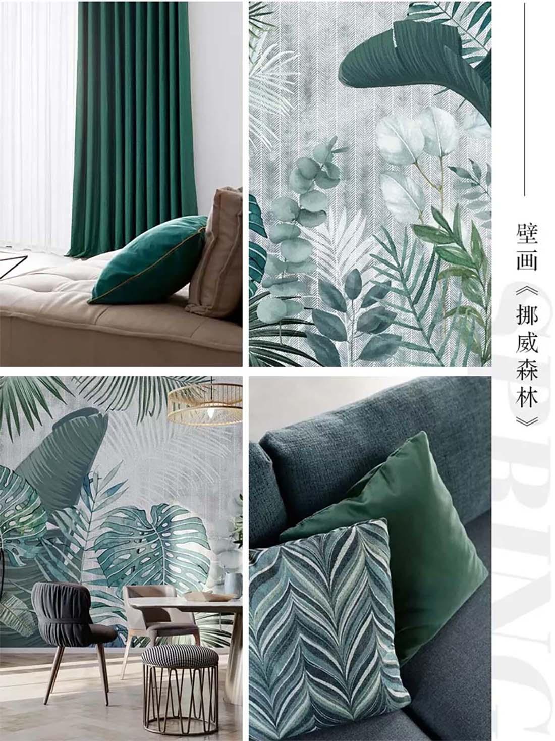 热带绿植壁画