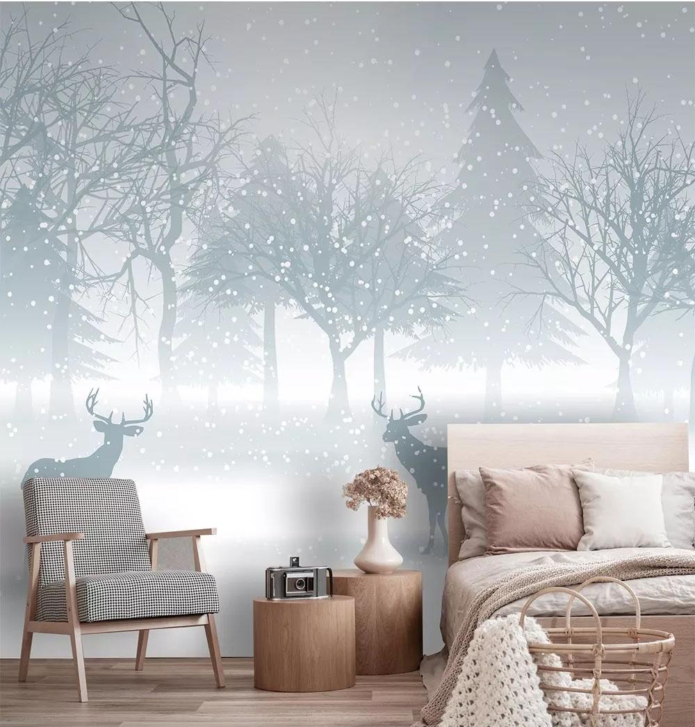 雪花松林麋鹿北欧简约壁画