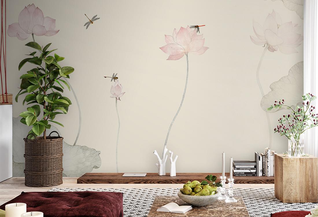 荷花荷叶池塘蜻蜓水墨画