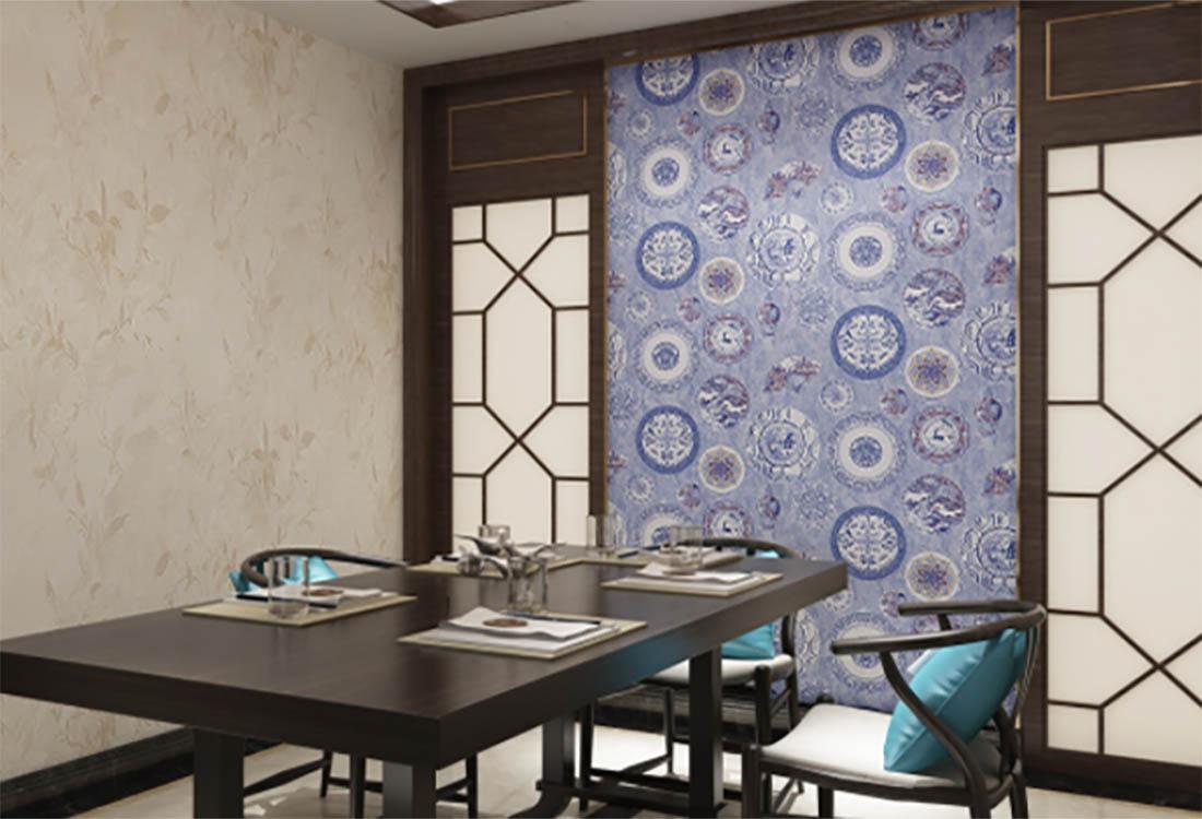 青花瓷元素新中式餐厅背景墙