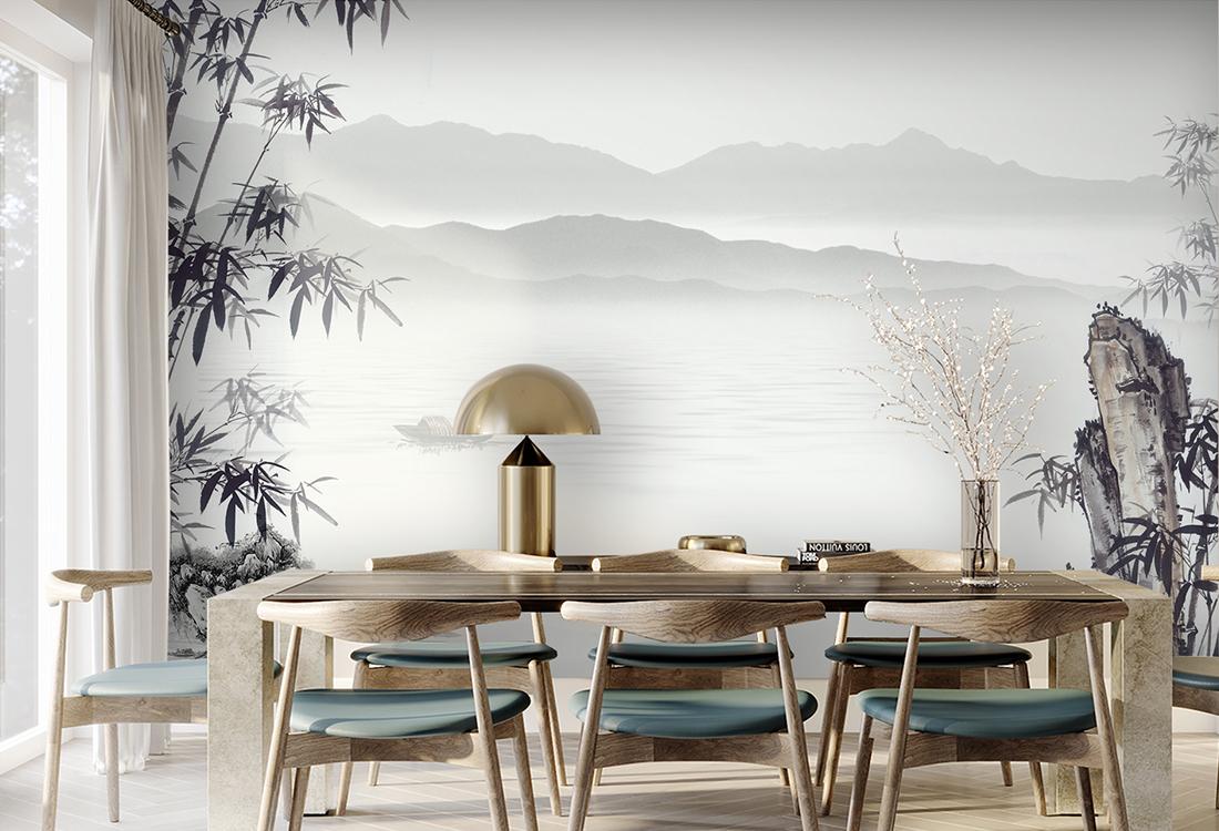 中式山水竹林餐厅背景墙