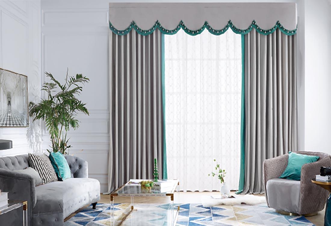 灰色青色撞色遮光窗帘
