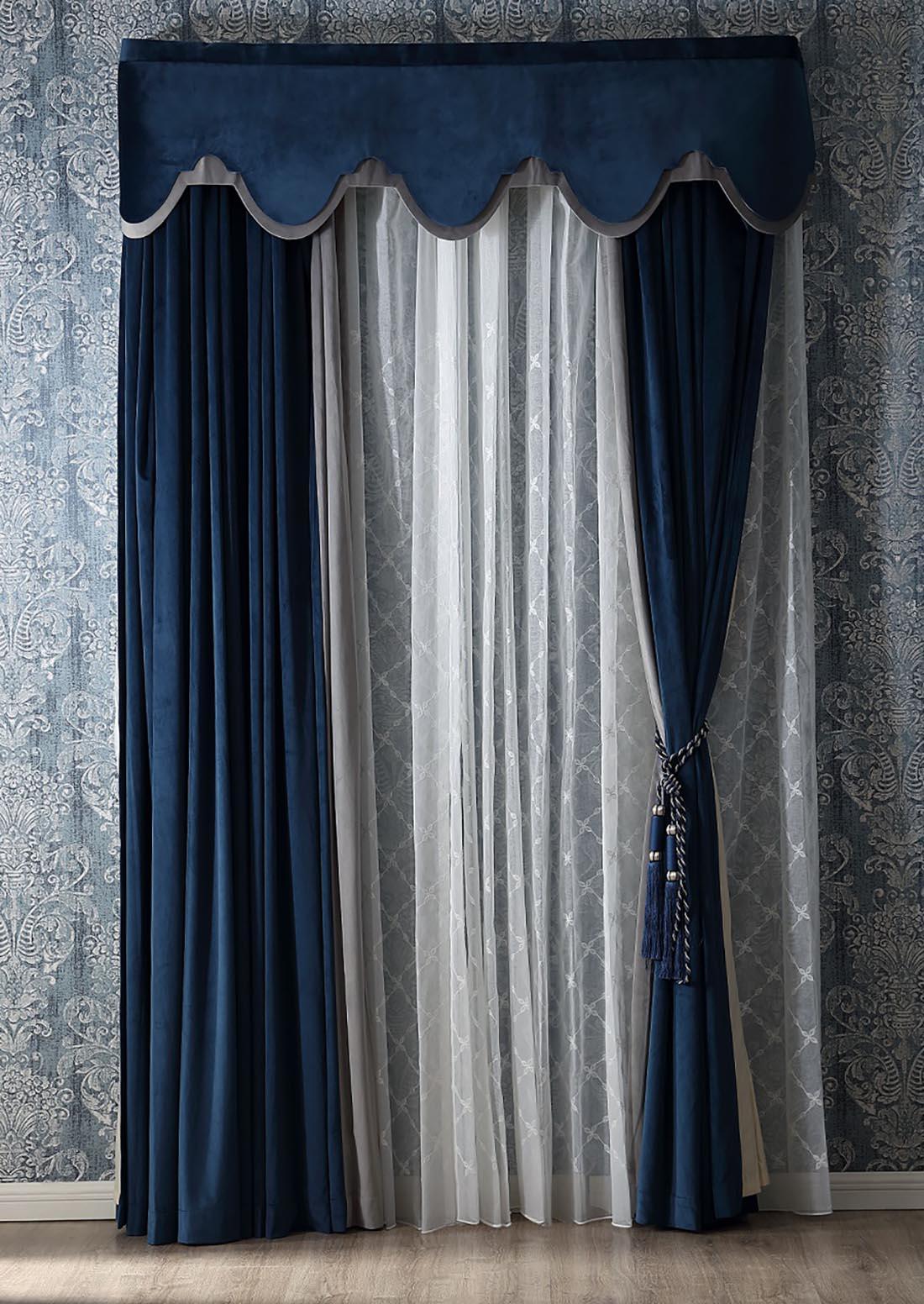 蓝色丝绒面料窗帘窗纱