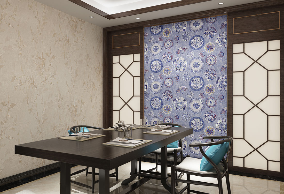 青花瓷团花元素墙布