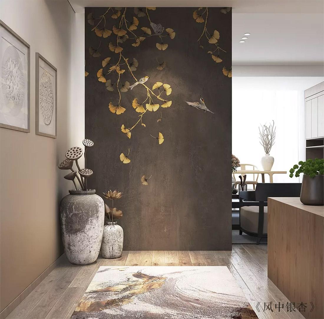 银杏落叶玄关壁画
