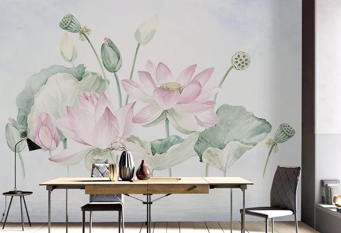 莲花莲蓬荷叶新中式壁画