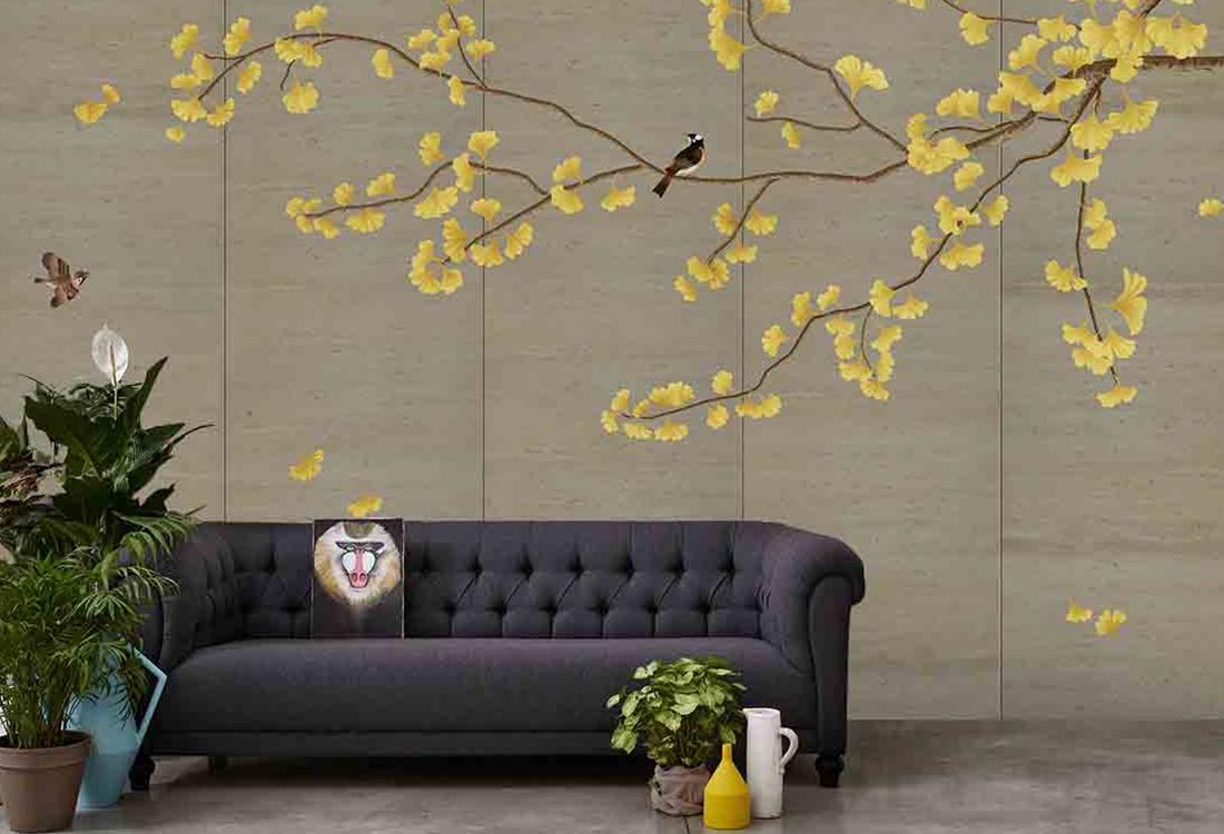金秋银杏花鸟黄色背景墙
