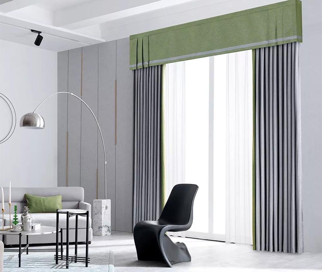 大厦灰、蕨植绿撞色斜纹棉窗帘