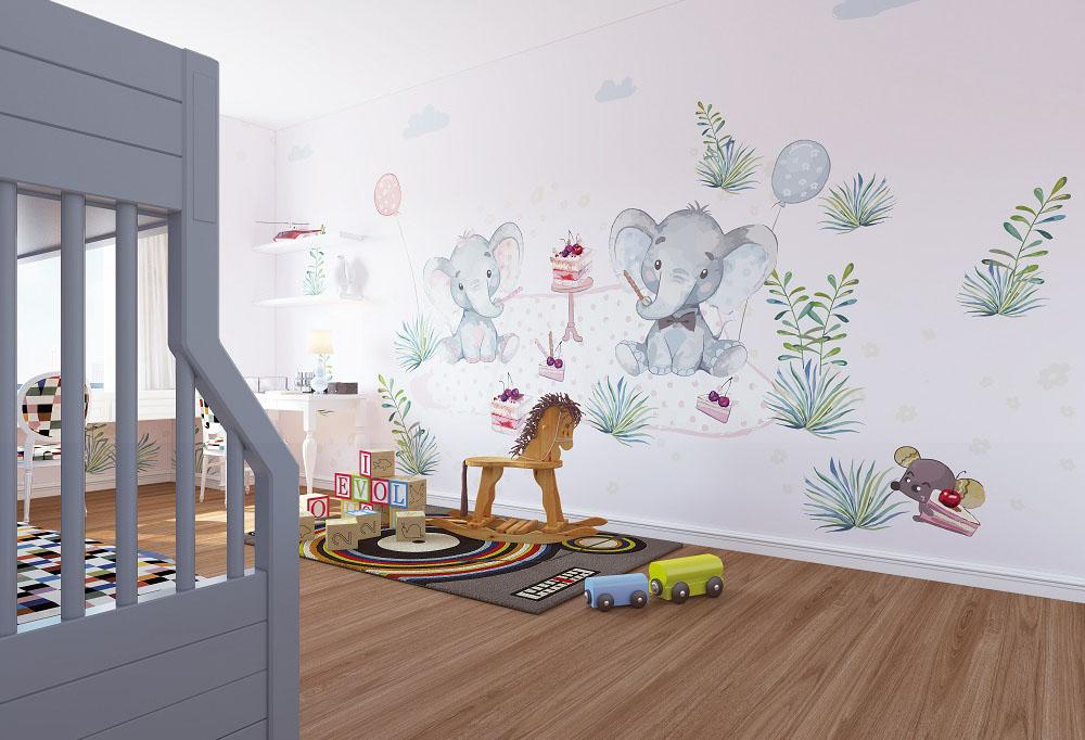 可爱大象和老鼠欢乐下午茶儿童房环保墙布