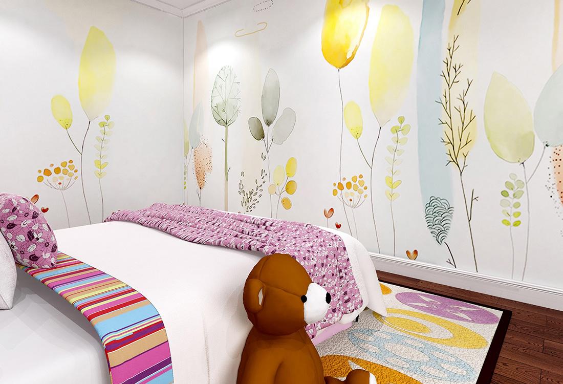 卡通树木气球女孩房卧室环保墙布