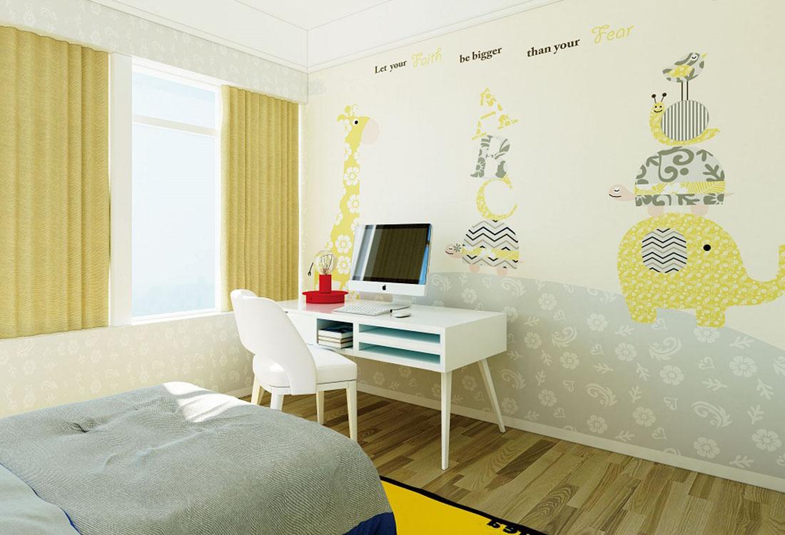 大象蜗牛鸟儿儿童房环保墙布