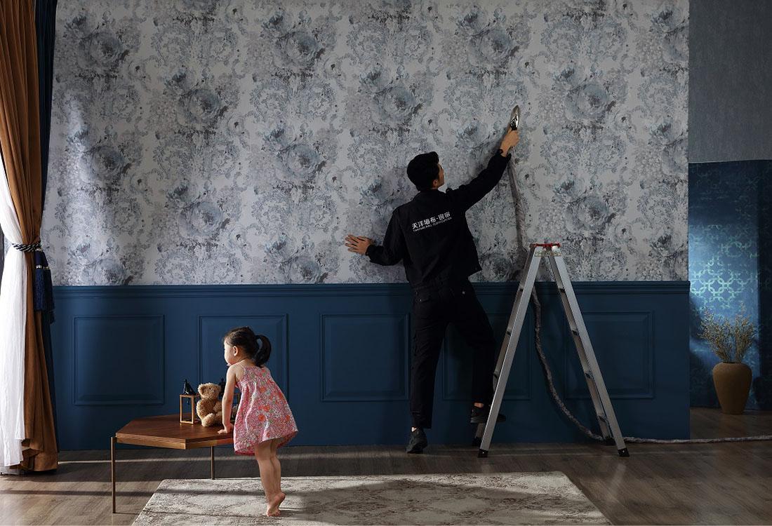 不用胶水贴墙布无异味小孩子都可以在现场