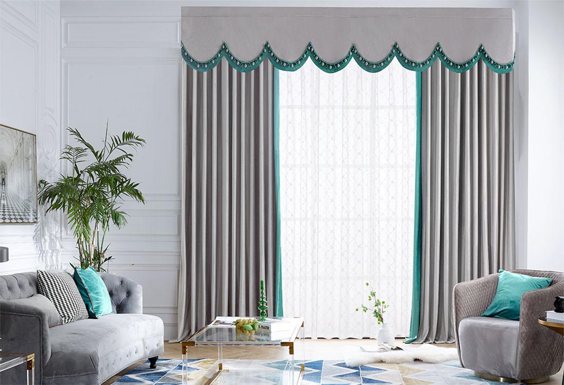 青绿灰色撞色丝绒成品窗帘