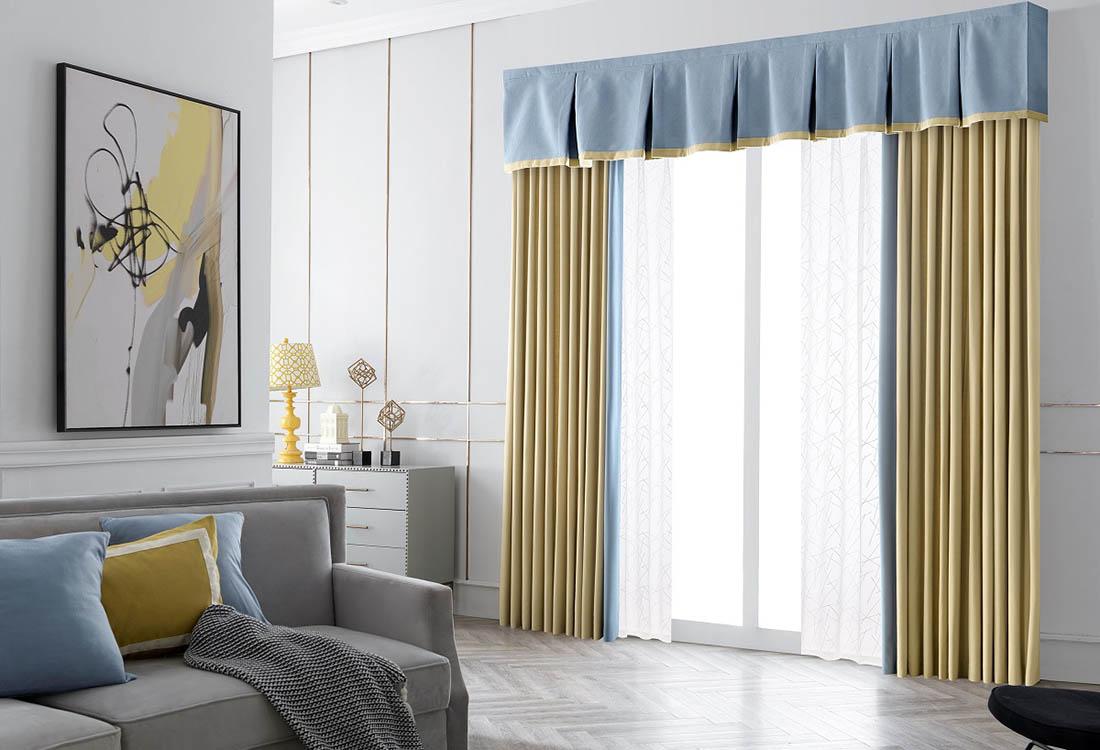 橙黄蓝色双色成品遮光窗帘