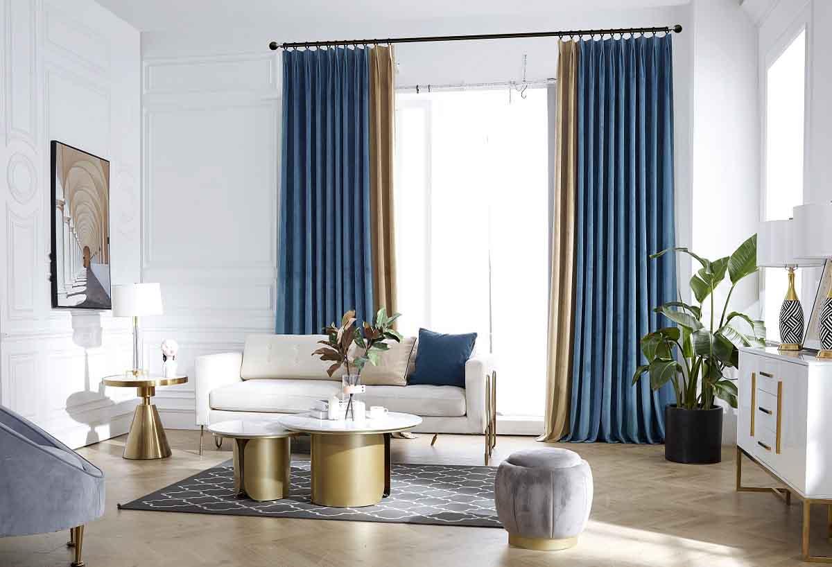 蓝咖两色撞色是经典丝绒窗帘
