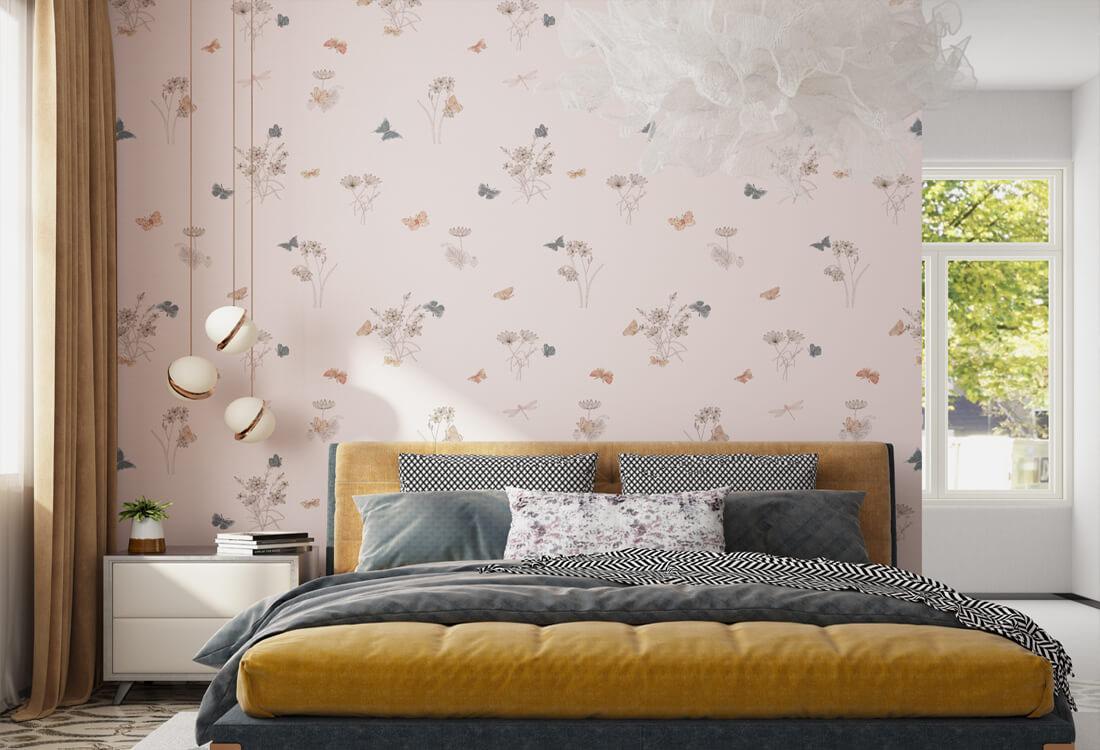 粉色温馨蝴蝶恋花卧室墙布