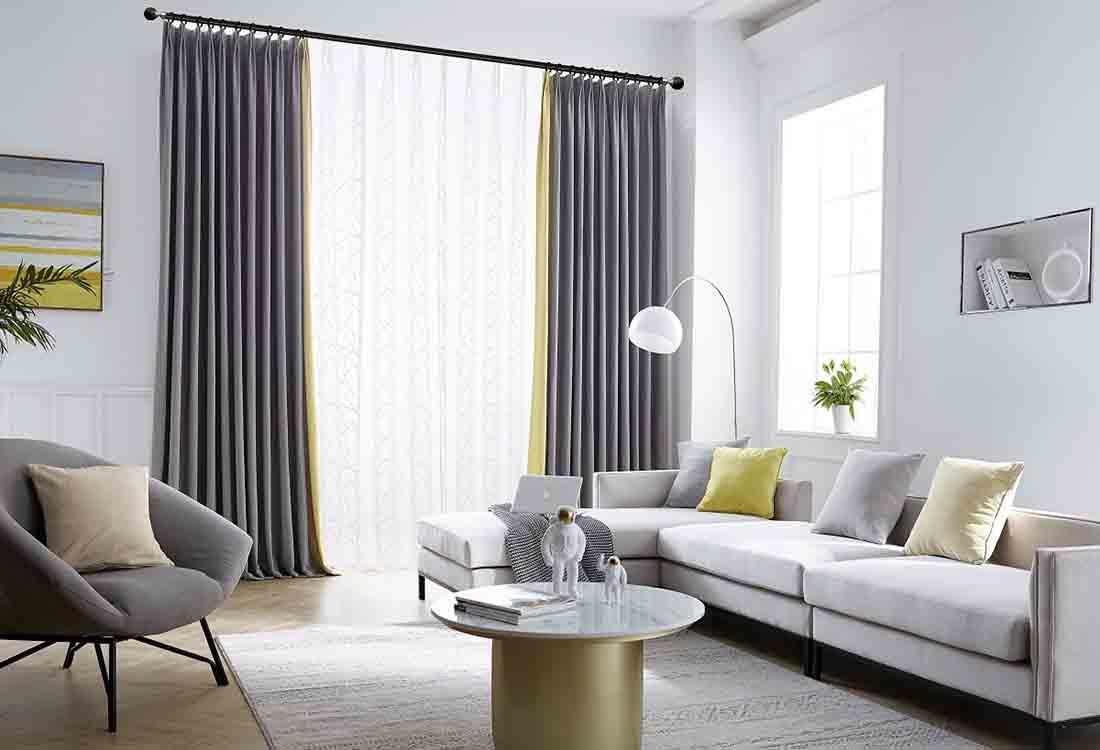 灰金两色成品遮光窗帘