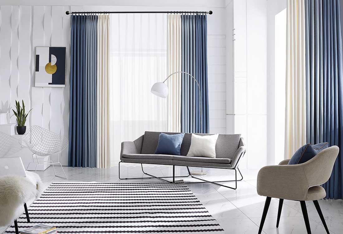 蓝草米三色拼色棉麻质感窗帘