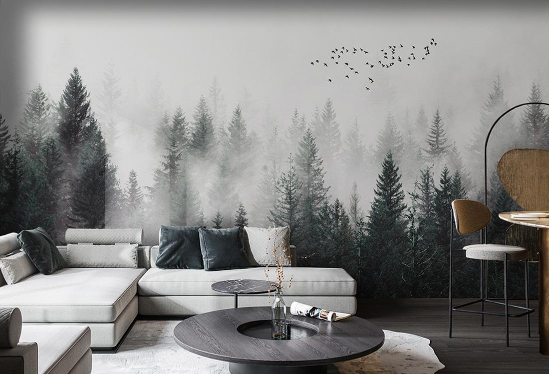 高山松树丛林雾中时隐时现壁画