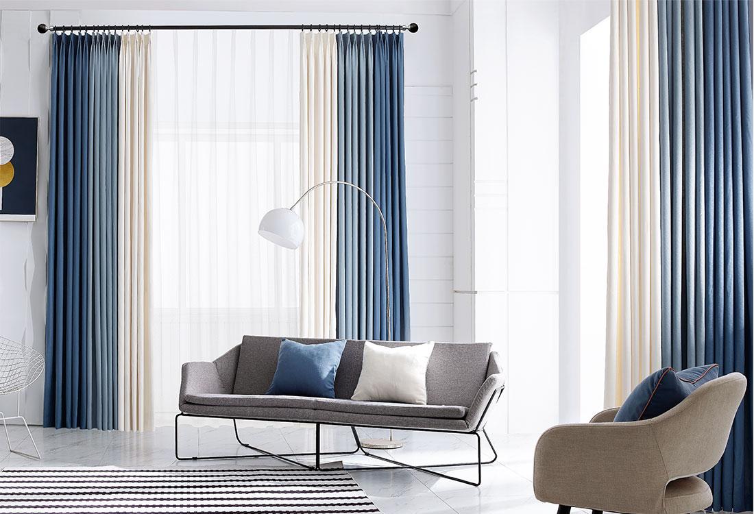 蓝色、草色、朴色拼色棉麻质感窗帘
