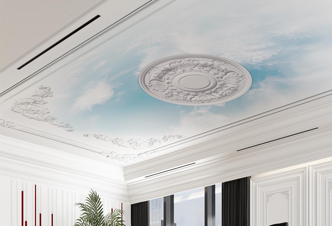 蓝天白云镶嵌在欧式浮雕吊顶壁画