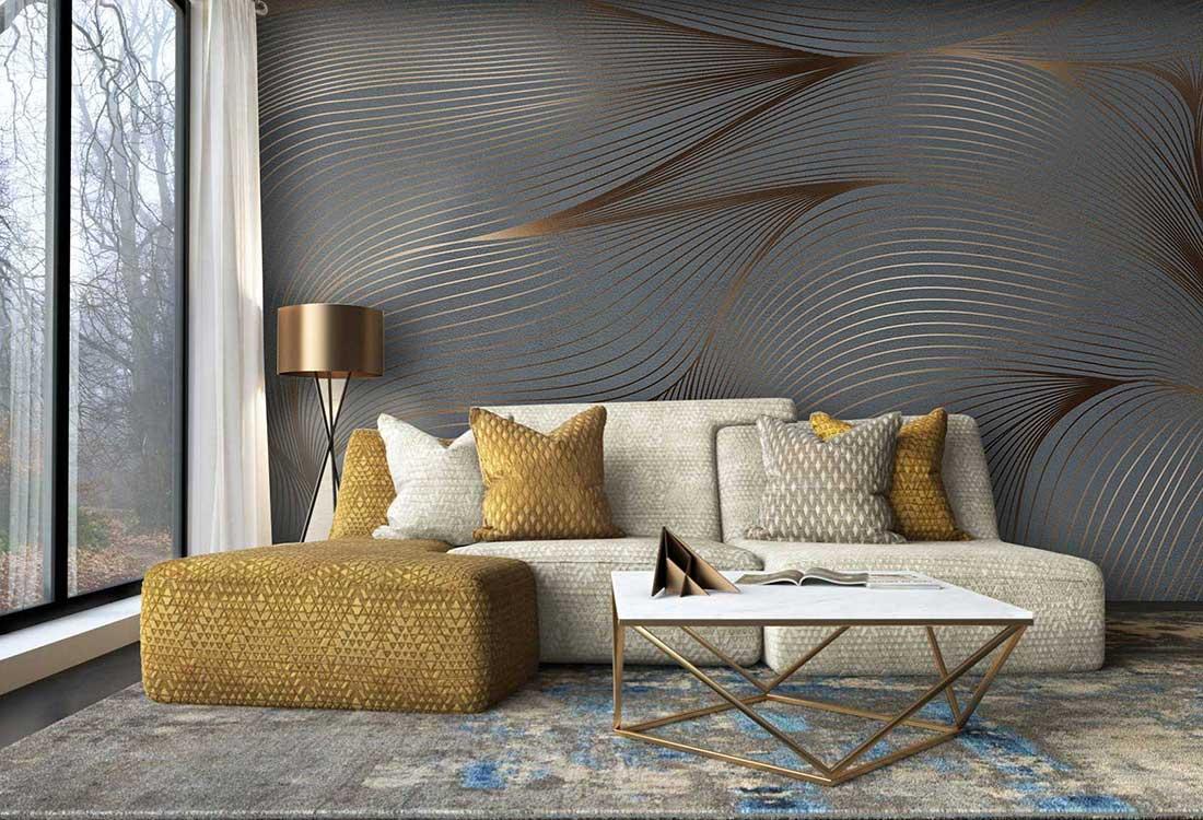波纹鎏金线条水形物语轻奢环保墙布