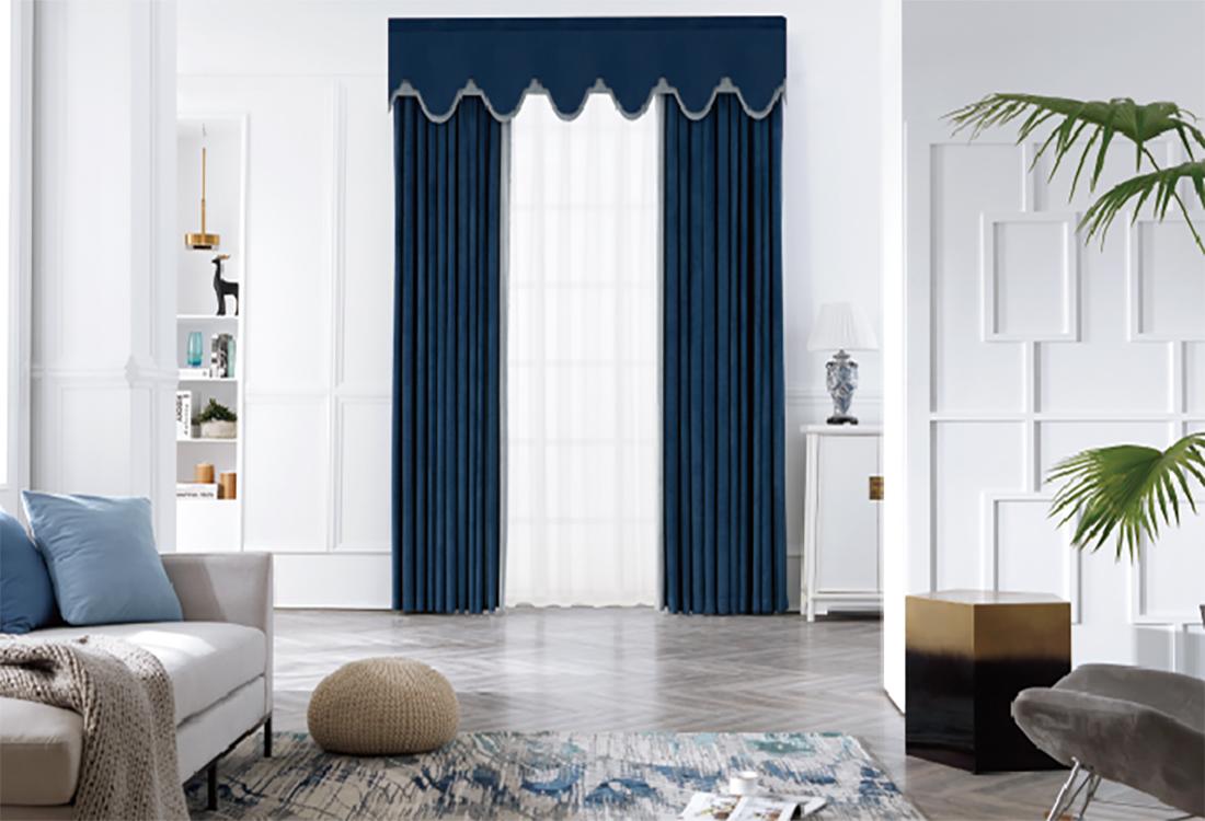 马洛利卡蓝、木炭灰撞色丝绒窗帘